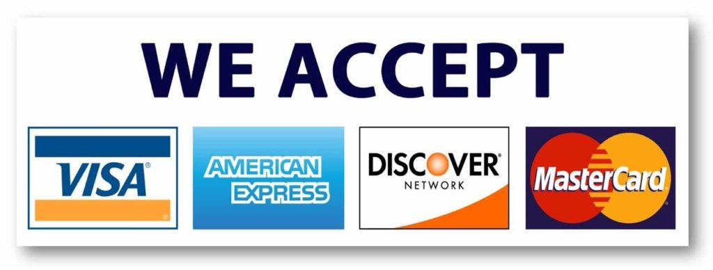 Chart showing the accepted credit cards:  VIsa, Mastercard, American Express, and Discover Network