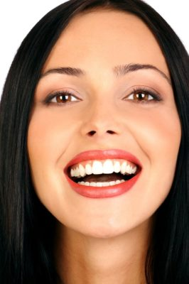 Woman with pearly white teeth